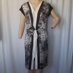 Vince Aligator Print Black And White Dress